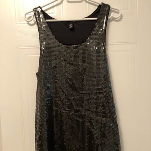 NWOT Black Sequin Mini Dress, M